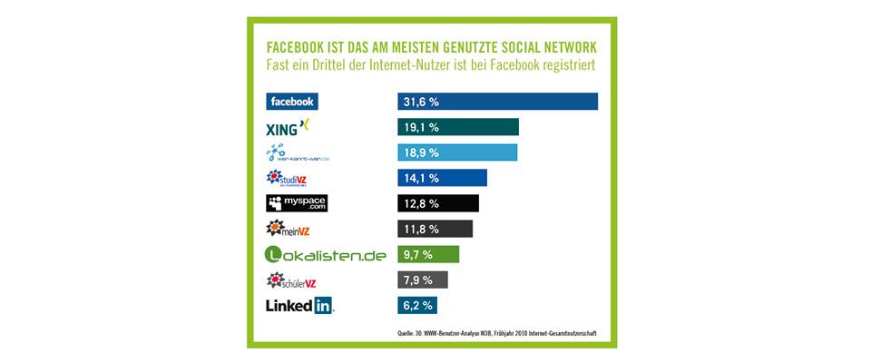 Ansicht Seo Grafik meist genutzte Social Networds