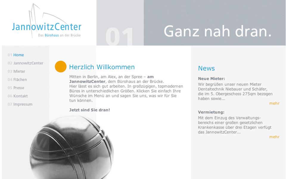 Ansicht Homepage Jannowitz Center