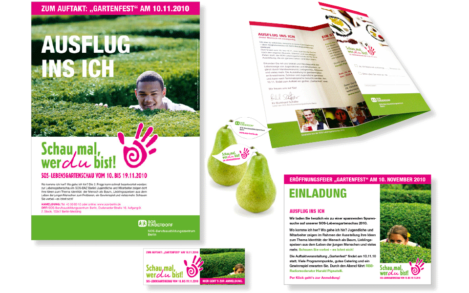 Ansichten auf Plakate, Flyer und Give-aways der Ausstellung Lebensgartenschau