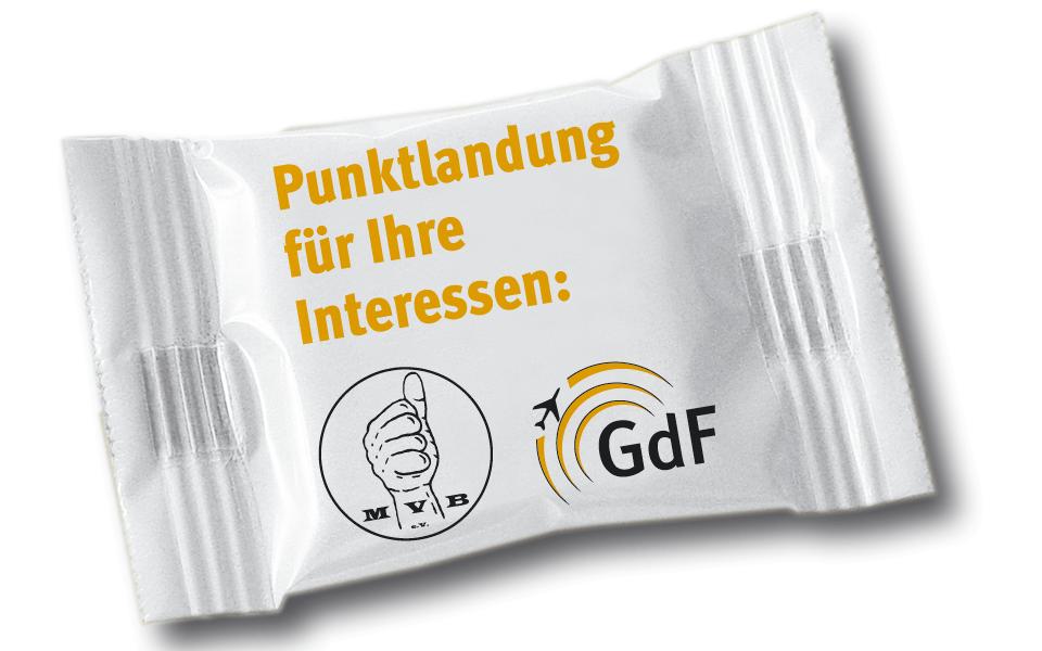 Ansicht Traubenzucker Give-away Wahlkampagne Gewerkschaft der Flugsicherung